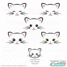 Cat Face SVG Files Set