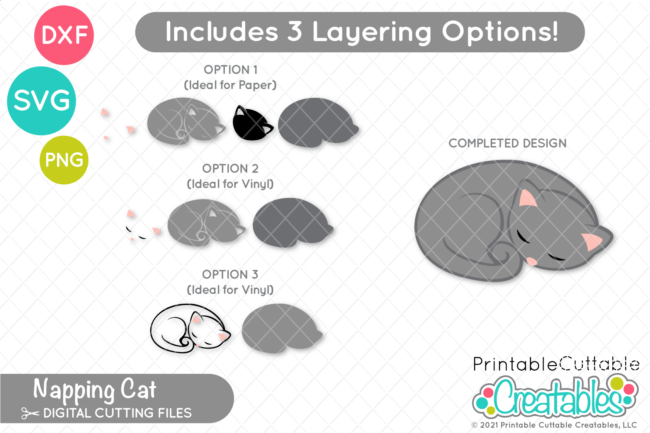 Sleeping Cat SVG File for Cricut & Silhouette - separate layers