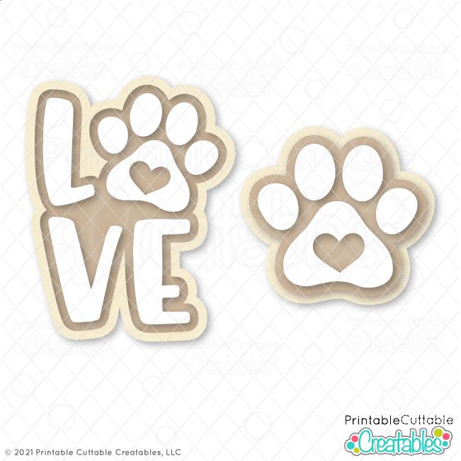 Free LOVE Paw Print SVG Files