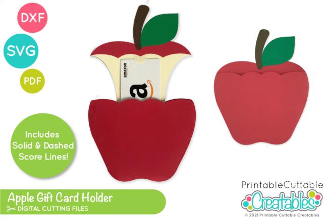 School Apple Gift Card Holder SVG File Template for Cricut & Silhouette