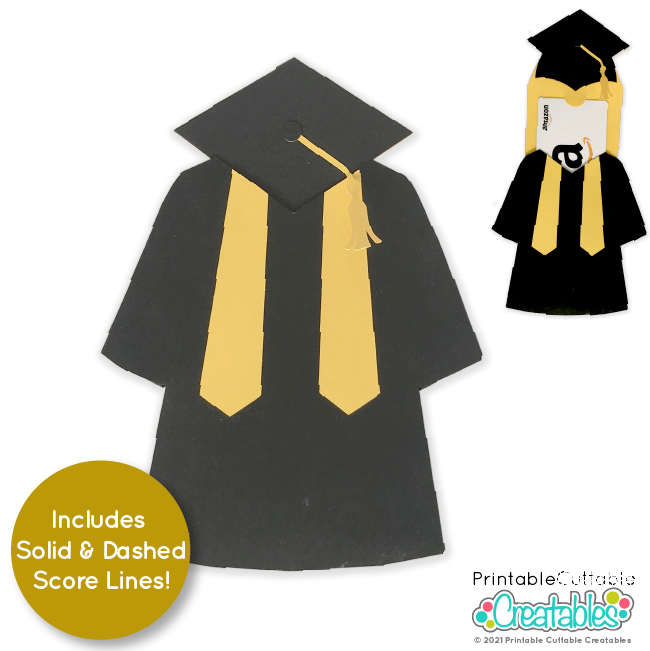 Cap & Gown Graduation Gift Card Holder SVG File for Cricut & Silhouette