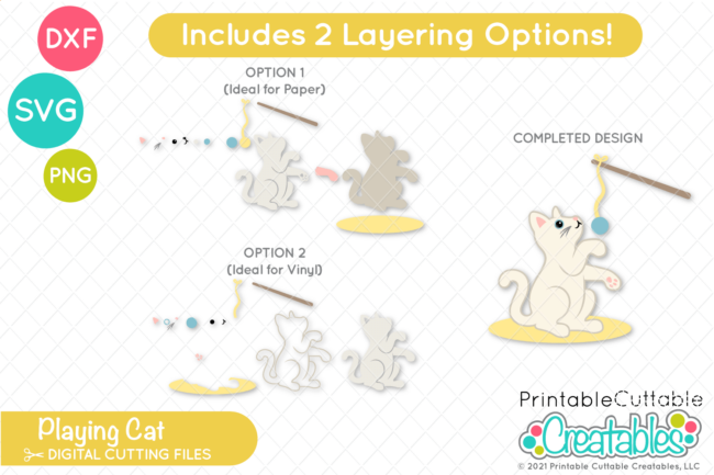 Playing Cat SVG File separate layers