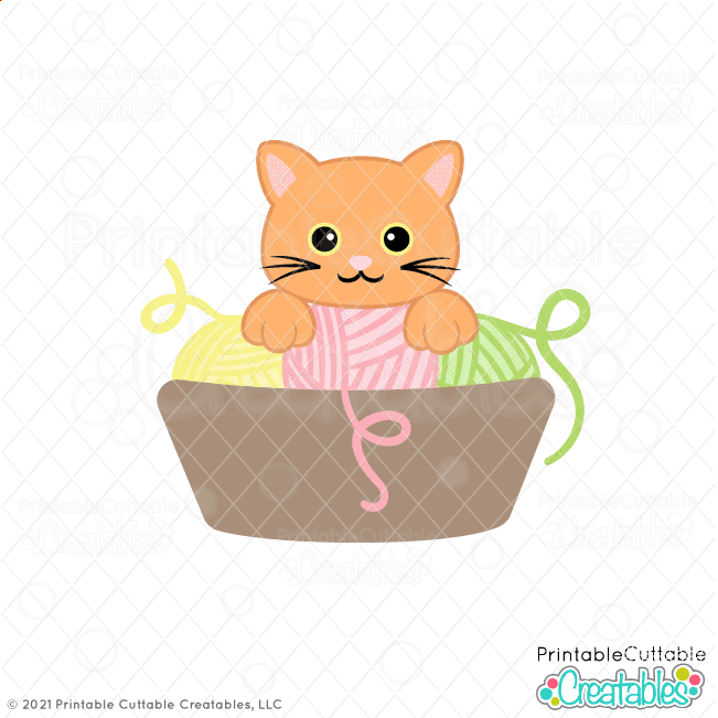 Yarn Basket Cat SVG File for Cricut & Silhouette