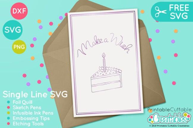 Free Foil Quill Design Birthday Cake Single Line SVG File