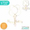 Happy Birthday Balloons Free Single Line SVG File