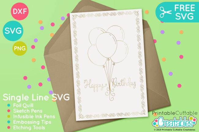 Free Foil Quill Birthday SVG design