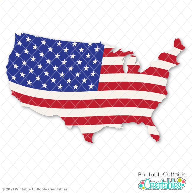 E609 USA Flag Map SVG File preview
