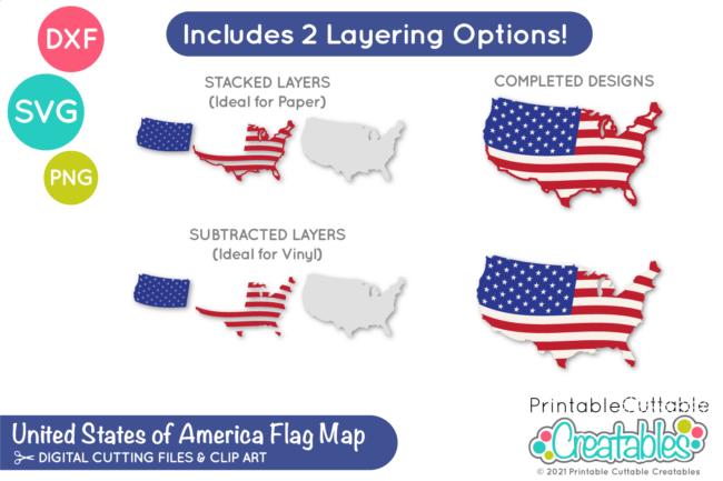 E609 USA Flag Map SVG File preview2