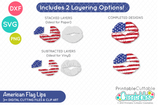 USA Flag Kissing Lips Free SVG File for Cricut & Silhouette