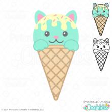 Cat Ice Cream Cone SVG File for Cricut & Silhouette