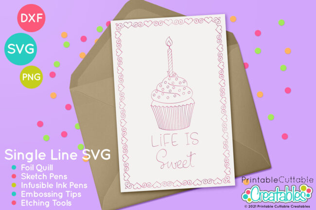 Single Line Cupcake SVG File Foil Quill design
