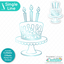 Birthday Cake Single Line SVG File