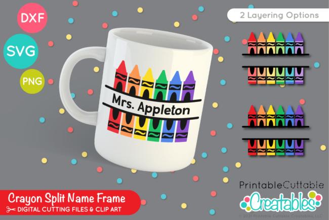 Split Crayon Monogram SVG Free File for Cricut & Silhouette