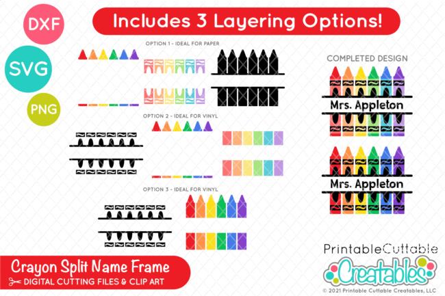 Free Split Crayon SVG Monogram Name Frame