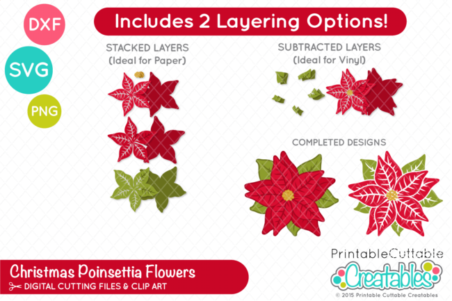 E220 Christmas Poinsettia Flower SVG File preview 2