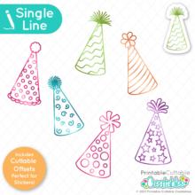 Birthday Party Hats Single Line SVG