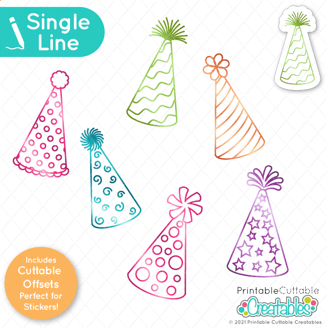 SK 032 Birthday Party Hats Single Line SVG preview