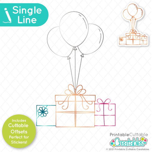 birthday gifts & balloons svg file