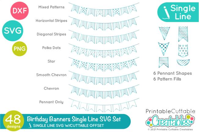 Single Line Birthday Banner Set