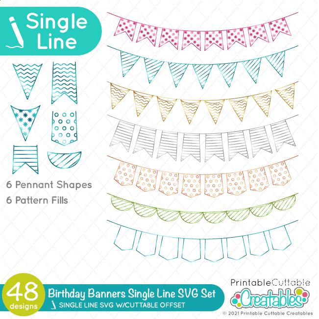 Birthday Banner Single Line SVG Set