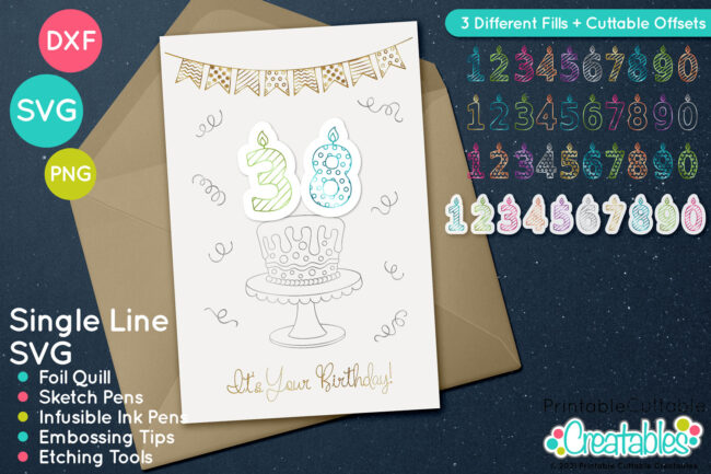 Birthday Candle Numbers Foil Quill SVG