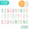 Birthday Candle Numbers Single Line SVG File