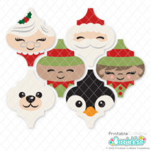 Christmas Friends Arabesque Tile Ornaments SVG Bundle