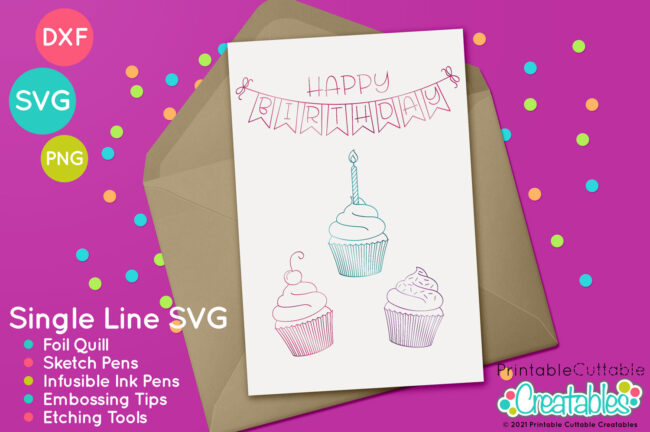 Birthday Cupcakes Quill Foil SVG File