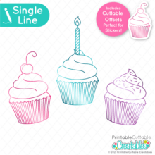 Single Line Birthday Cupcakes SVG File