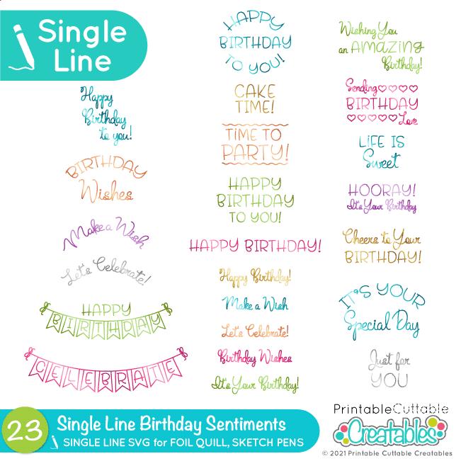 Single Line Birthday Sentiments SVG Set