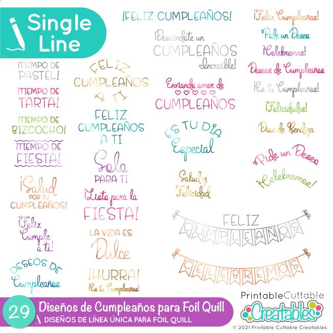 SVG Diseños de Cumpleaños para Foil Quill