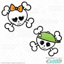 Cute Skulls Halloween SVG Cutting Files Clipart