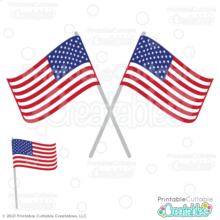 Crossed American Flags SVG Cut Files & Clipart