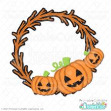 Jack O Lantern Pumpkin Wreath SVG File