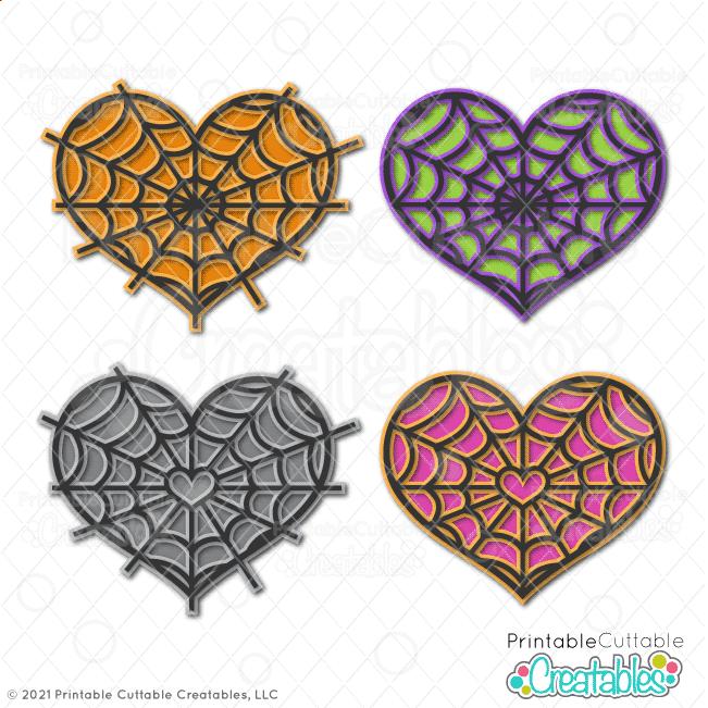 Heart Spiderwebs Free SVG Files