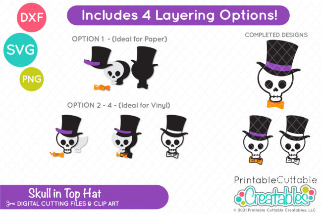 Skull with Top Hat SVG File