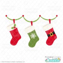 Hanging Christmas Stockings Free SVG File