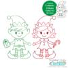Christmas Elves Single Line SVG File
