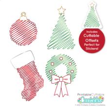 Single Line Christmas Scribbles Free SVG File